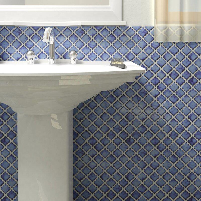 Pharsalia 2 x porcelain mosaic tile in sapphire for Mosaic bathroom bin