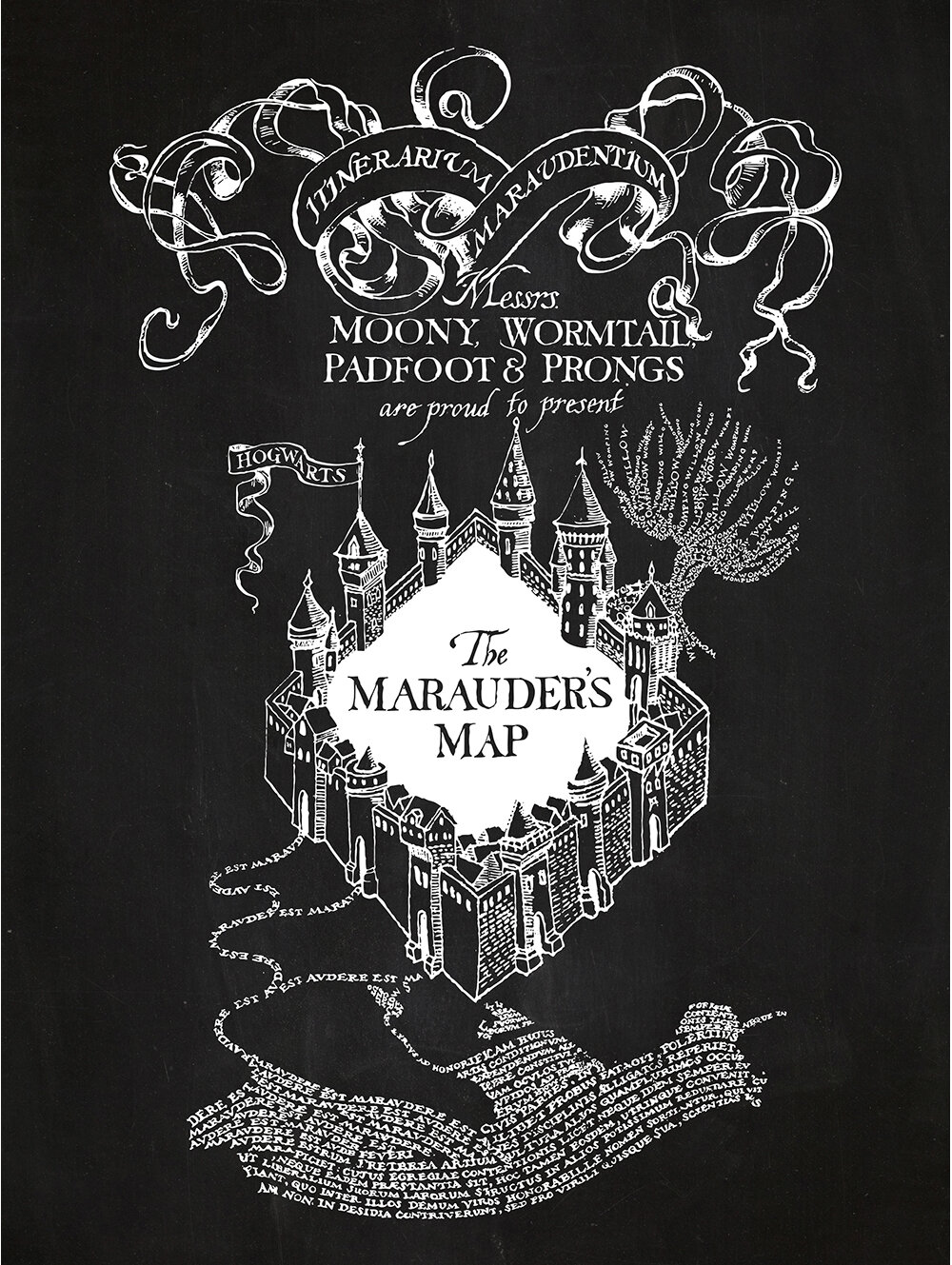 Inked and Screened Sci-Fi and Fantasy \'The Marauder\'s Map\' Silk ...