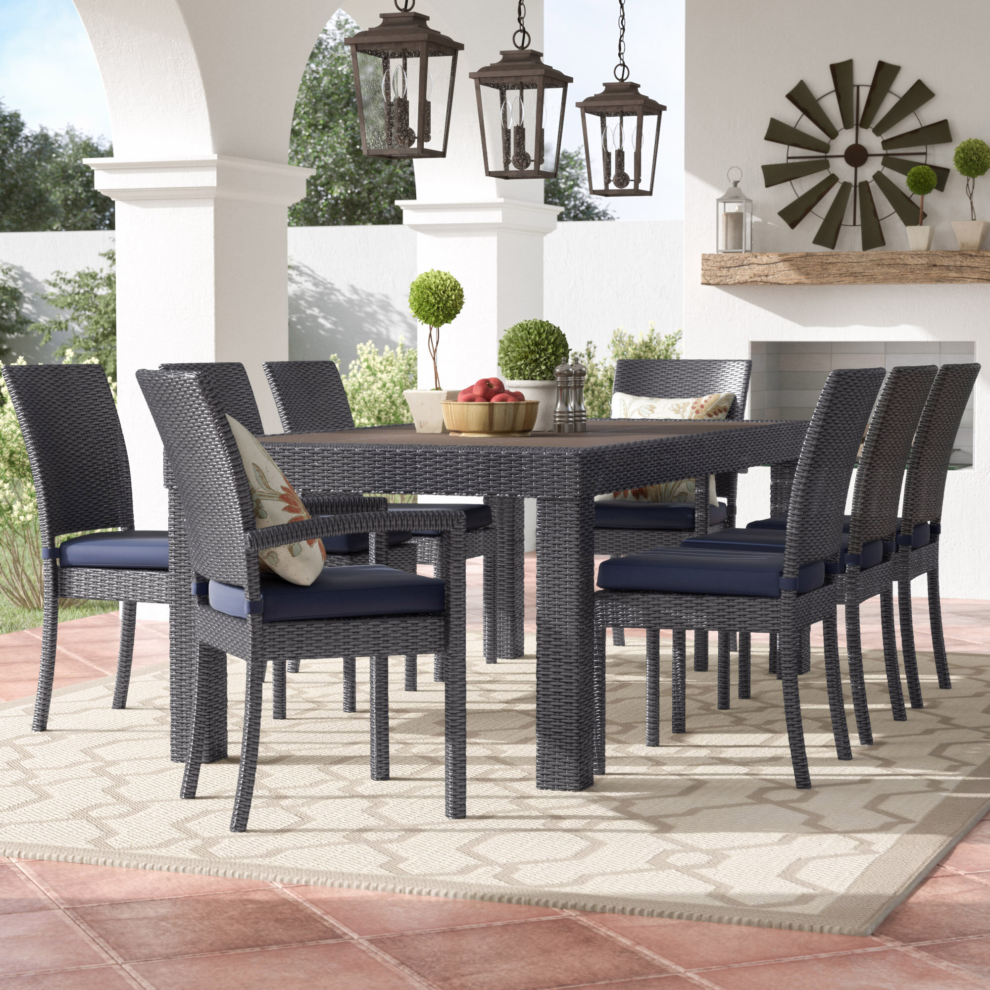 Three Posts Evansville 9 Piece Outdoor Dining Set with Cushion ... on kitchen cabinets outdoor, kitchen wood outdoor, grill tops outdoor,