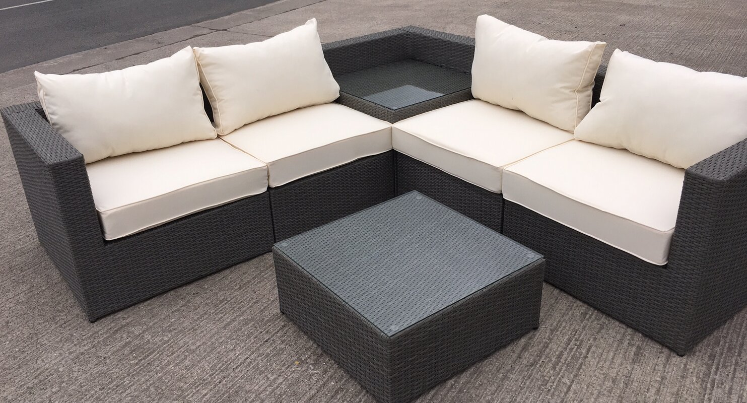 all home rattan l shaped 5 seater sectional sofa set