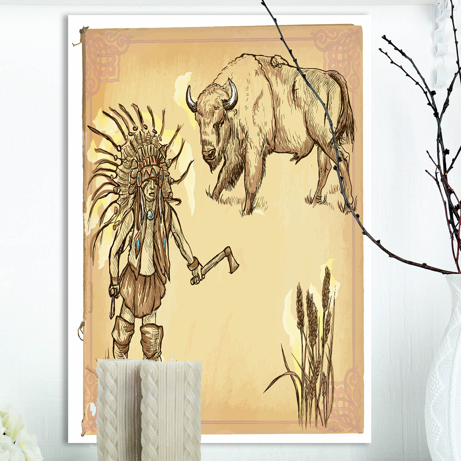 East Urban Home \'North American Indian\' Drawing Print on Wrapped ...