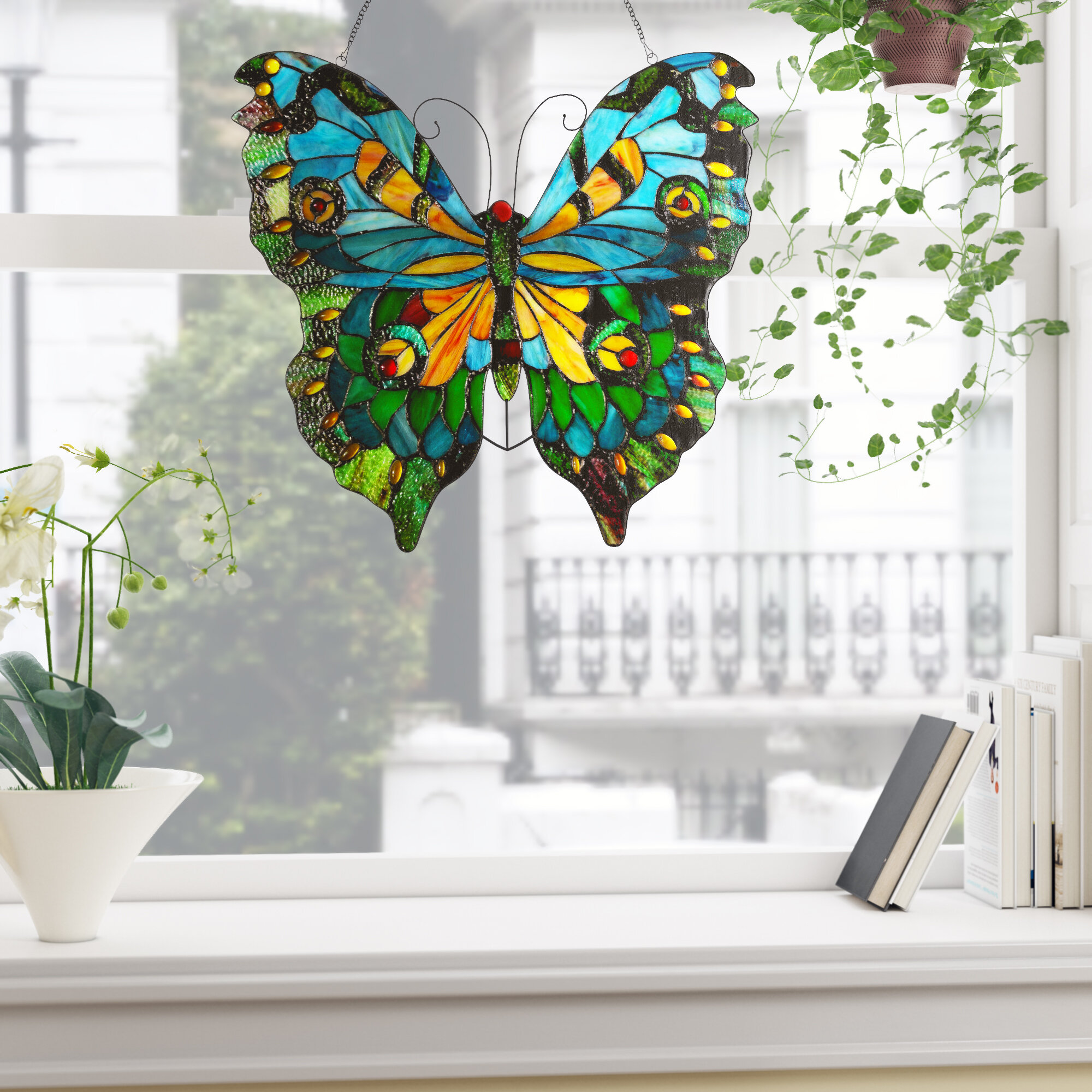4f985bfdf887 Astoria Grand Laurie Tiffany Glass Butterfly Window Panel   Reviews ...