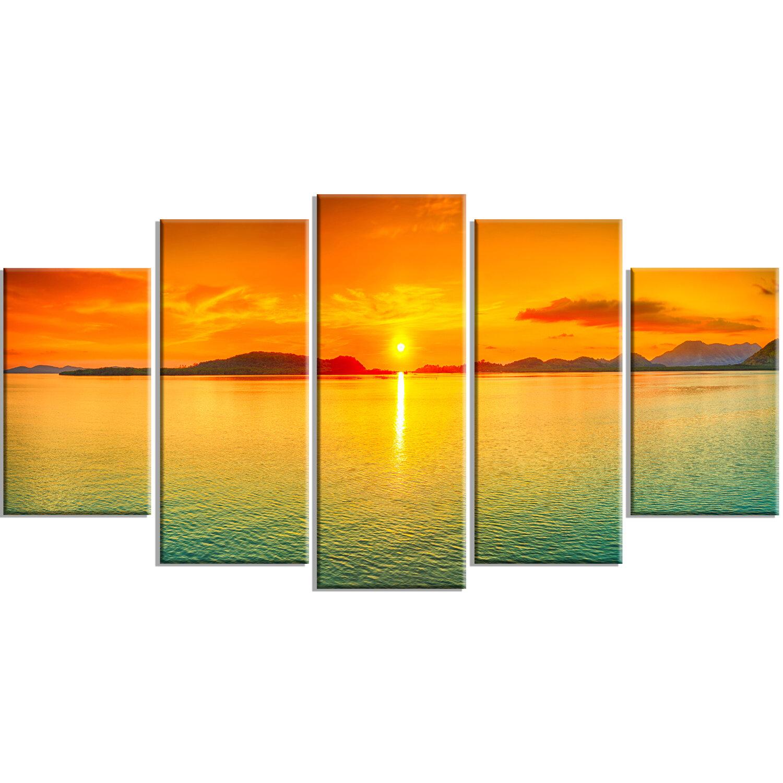 DesignArt \'Sunset Panorama\' 5 Piece Wall Art on Wrapped Canvas Set ...