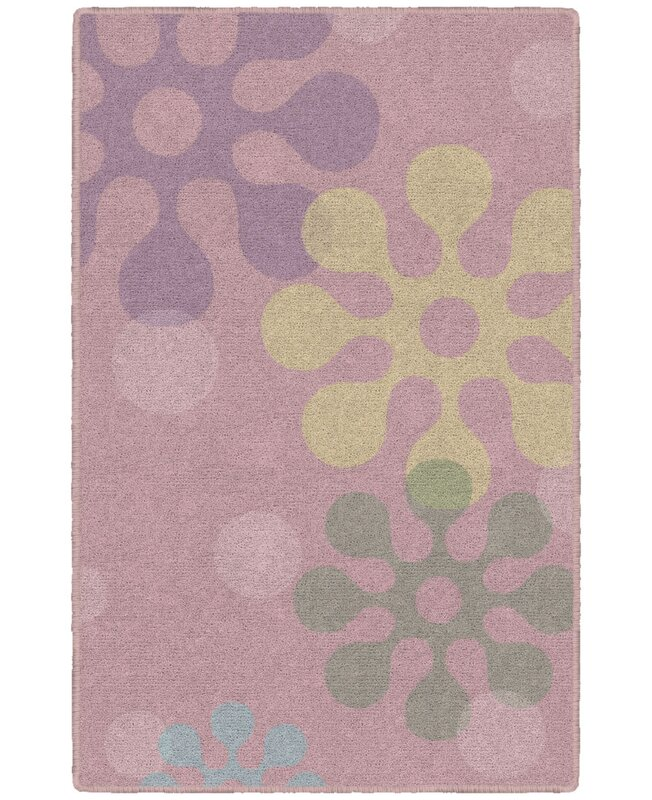 Zoomie Kids Jessamine Childrens Floral Pink Area Rug, Size: Rectangle 76 x 10