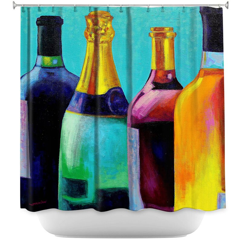 Four Wine Bottles Shower Curtain