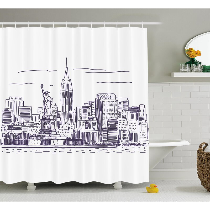 Brunella Sketchy NYC Island Shower Curtain