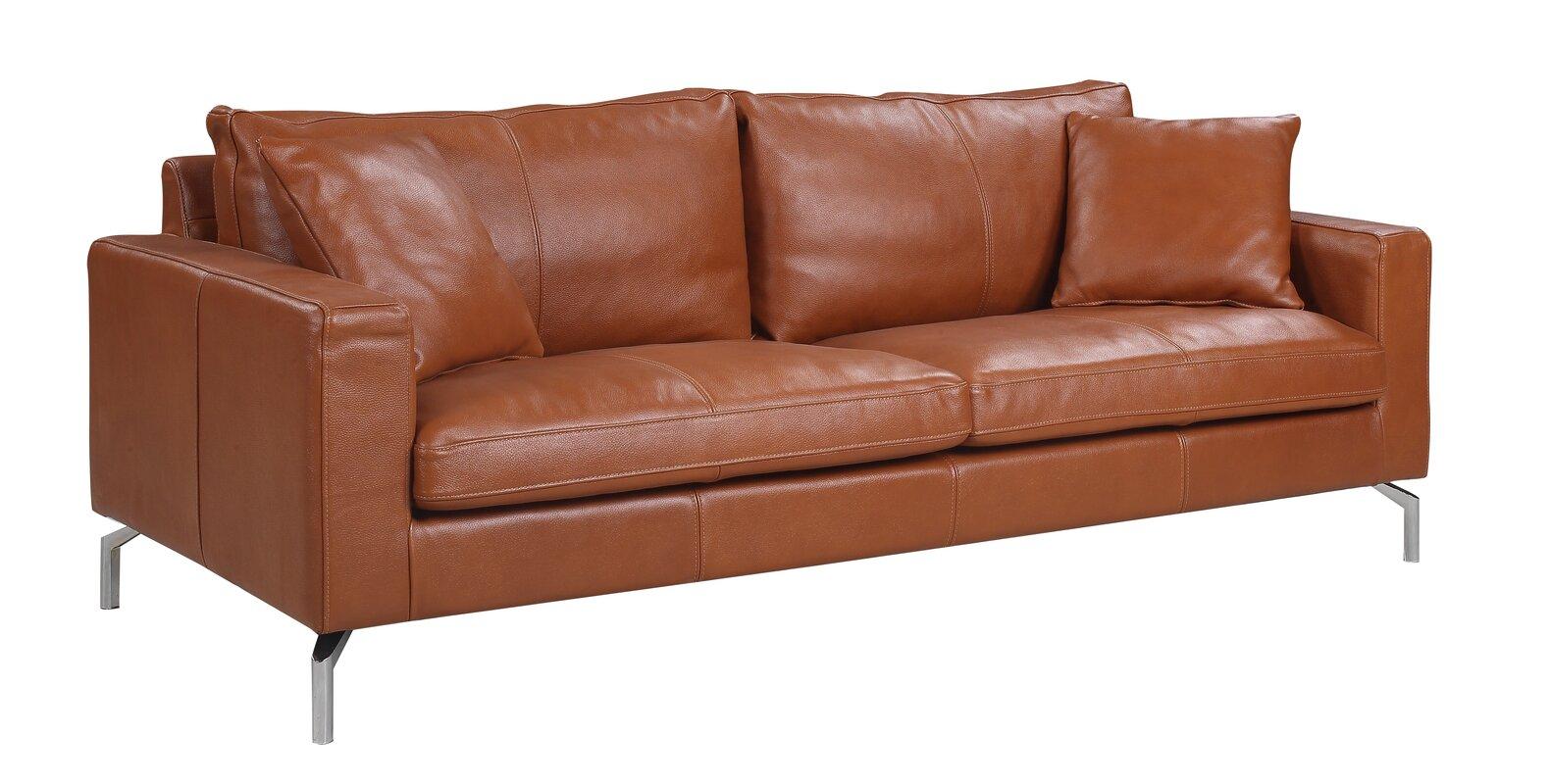 nyyear mid century modern plush top grain leather sofa. orren ellis nyyear mid century modern plush top grain leather sofa