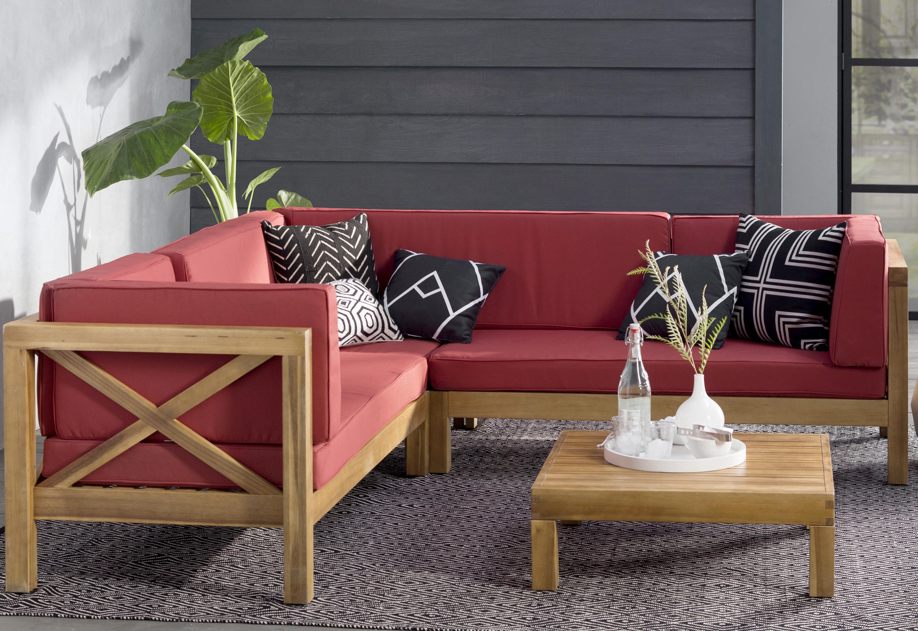 Lark manor lejeune 4 piece sectional seating sofa set with cushions reviews wayfair