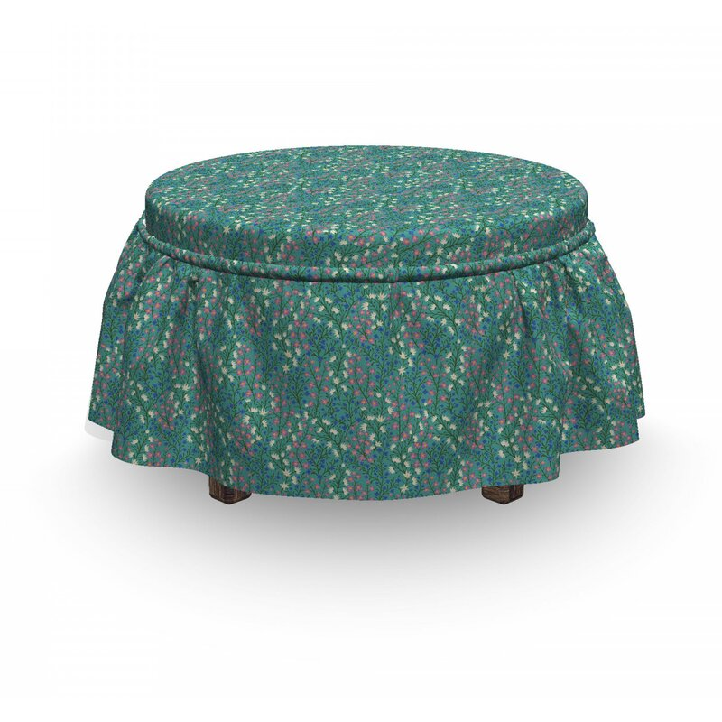East Urban Home Ambesonne Asian Leaves Ottoman Cover