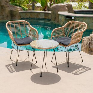 Garett Wickered 3 Piece Bistro Set With Cushions