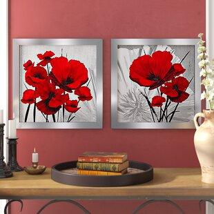 Red Poppies 2 Piece Framed Painting Print Set