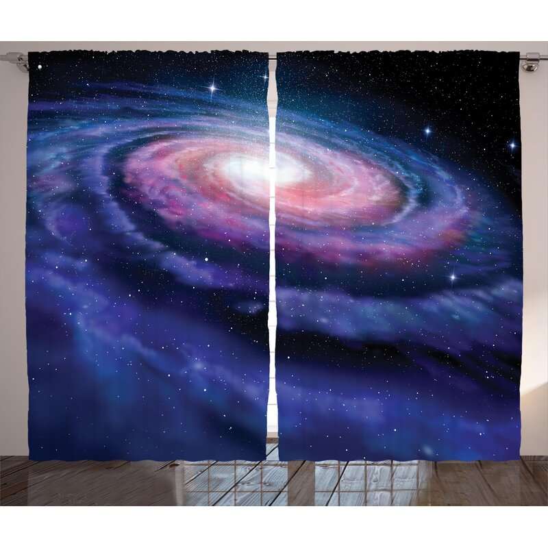 Odalis Galaxy Nebula in Outer Space Spiral Stardust Mist Cloud of Dust Planetarium Astronomy Art Graphic Print & Text Semi-Sheer Rod Pocket Curtain Panels