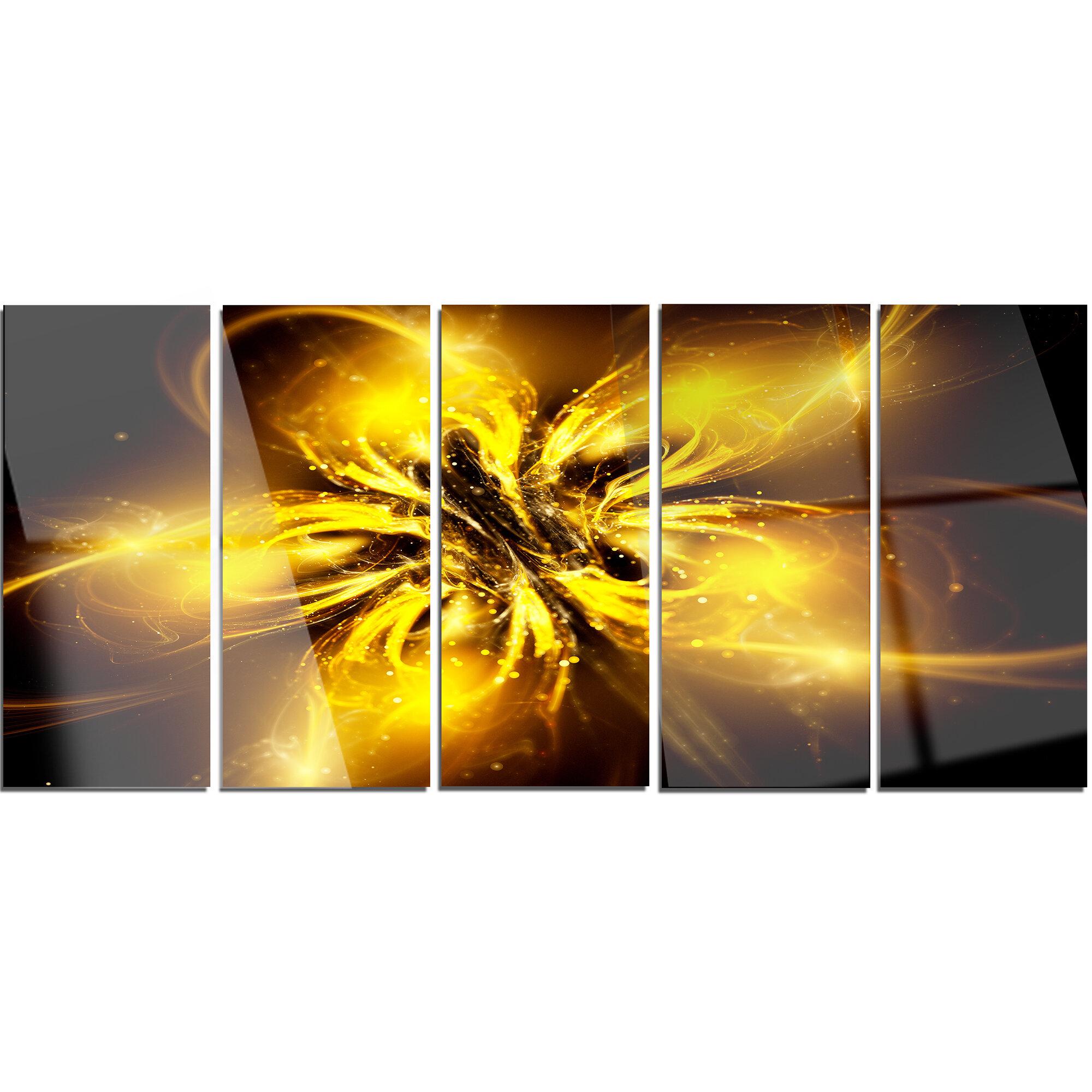 078c9337e9b7 DesignArt Shiny Gold Fractal Flower on Black  5 Piece Graphic Art on Metal  Set