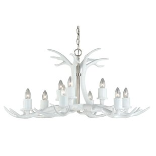 White antler chandelier wayfair vail antler 9 light candle style chandelier mozeypictures Image collections