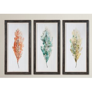 Tricolor Leaves Abstract Art 3 Piece Framed Painting Set