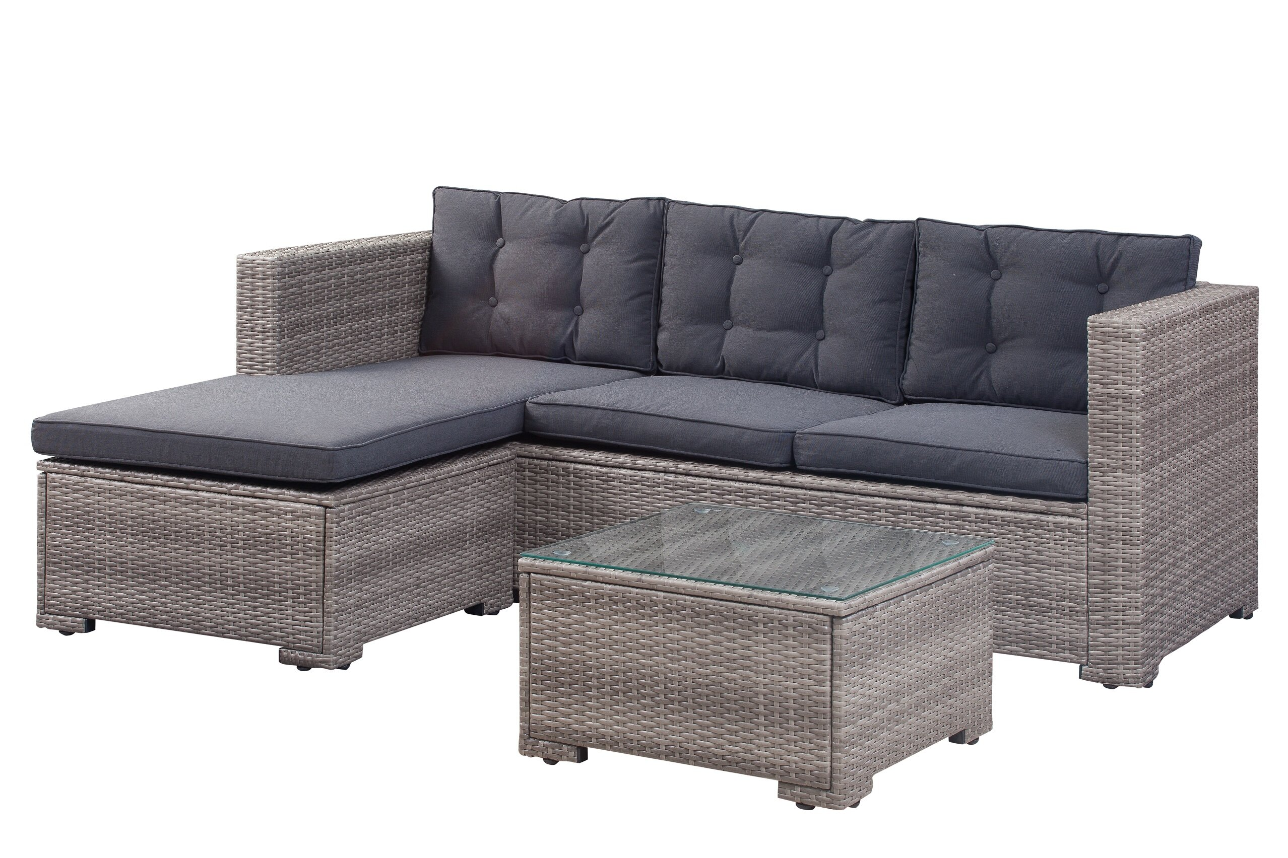 Beachcrest Home Henrie 3 Piece Rattan Sectional Set with Cushions