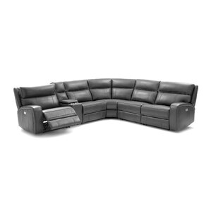 Latitude Run Arty Motion Leather Reclining Sectional
