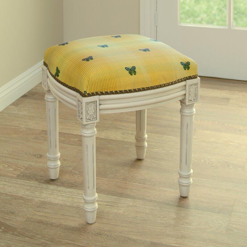 123 Creations Butterfly Upholstered Vanity Stool Wayfair