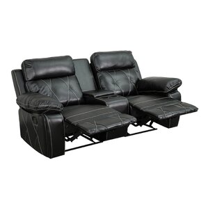 2 Seat Reclining Leather Home Theater Sofa by Latitude Run