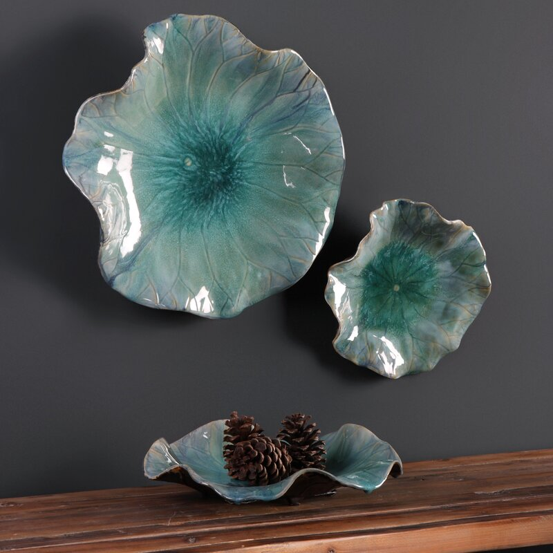 Ceramic Wall Flower Decor: 3 Piece Ceramic Flowers Wall Décor Set & Reviews