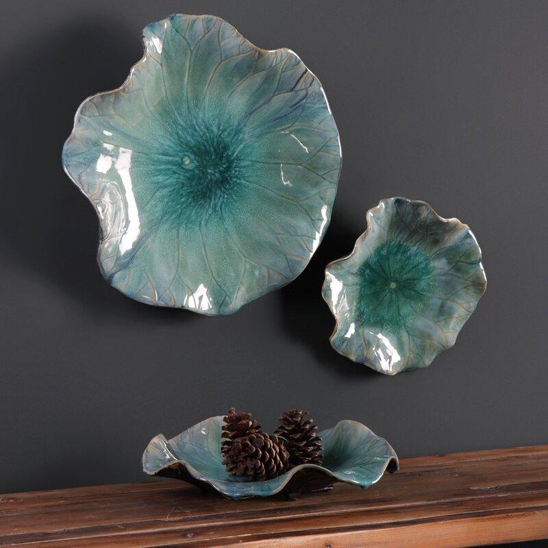 3 Piece Ceramic Flowers Wall D 233 Cor Set Amp Reviews Birch Lane