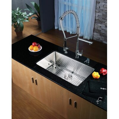 Kraus 30 x 16 Undermount Kitchen Sink with Faucet and Soap
