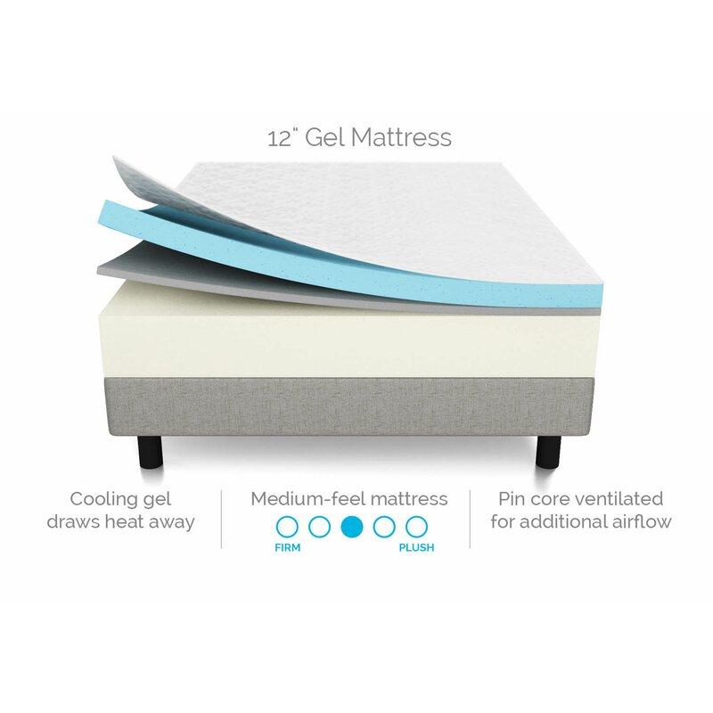 Lucid 12-inch gel memory foam mattress layers