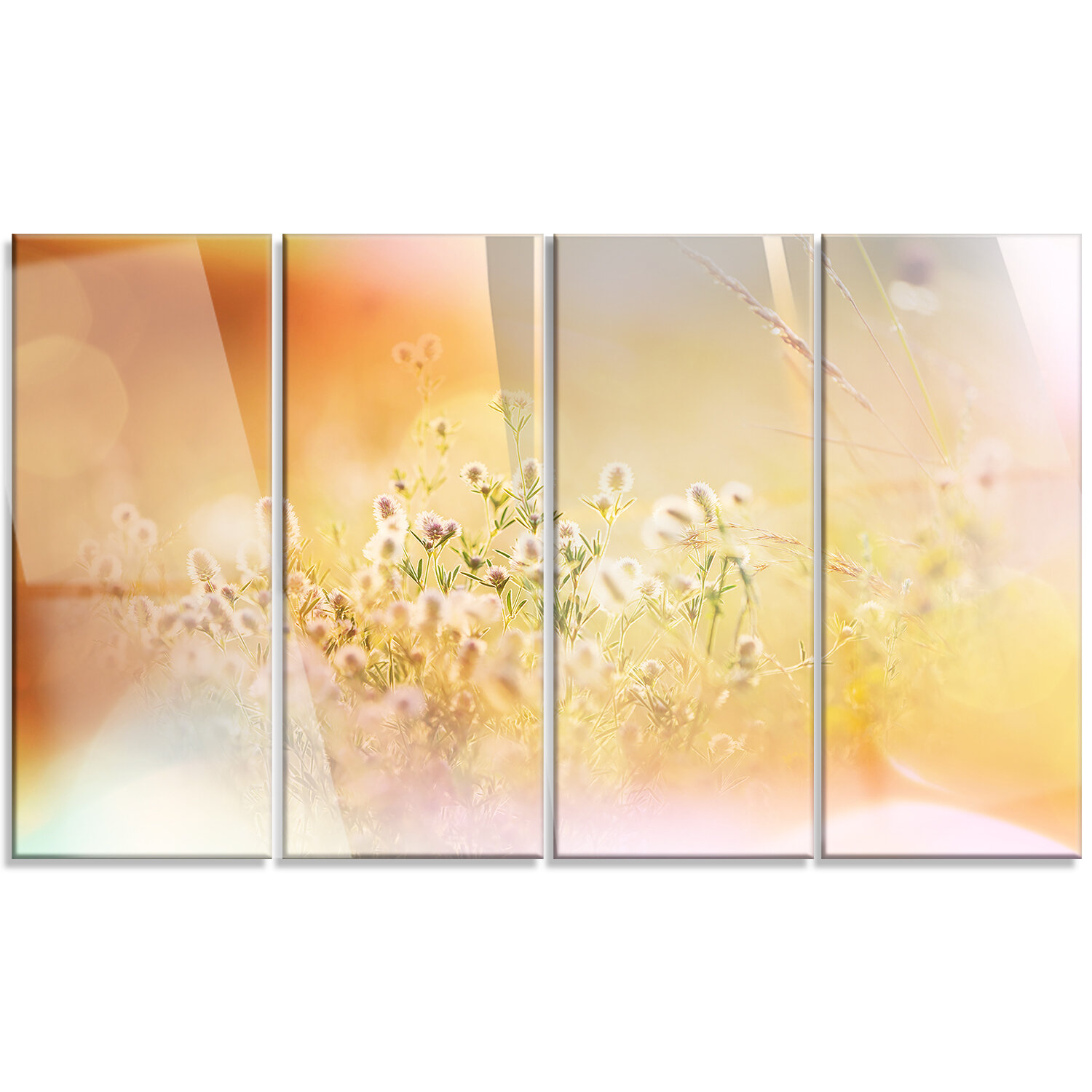 DesignArt \'Wild Purple Flowers on Light Background\' 4 Piece Graphic ...