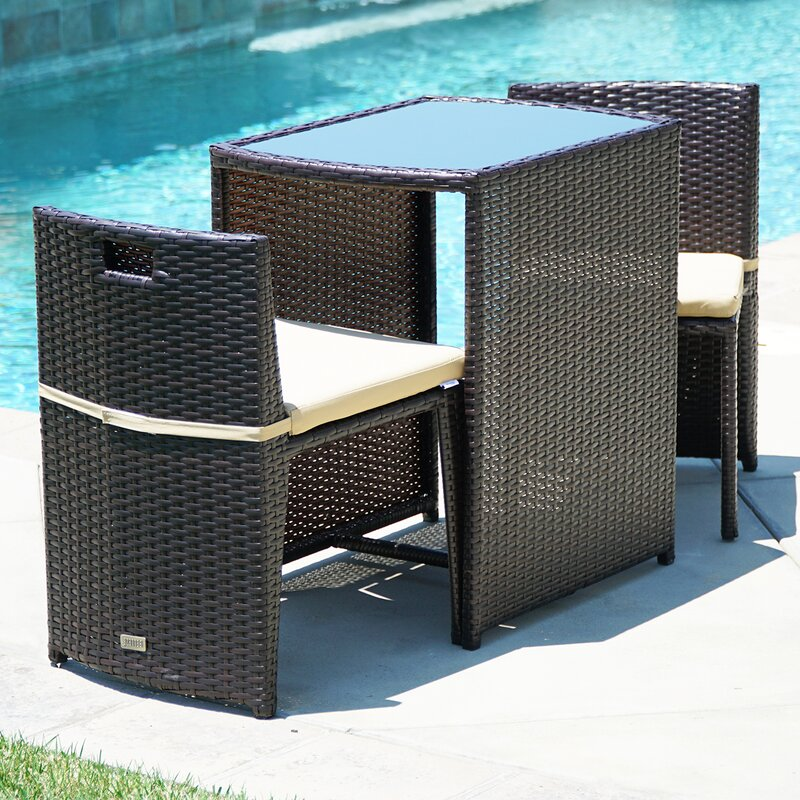 table 2 chairs. kendal patio furniture wicker 3 piece bistro set w/ glass top table, 2 chairs table