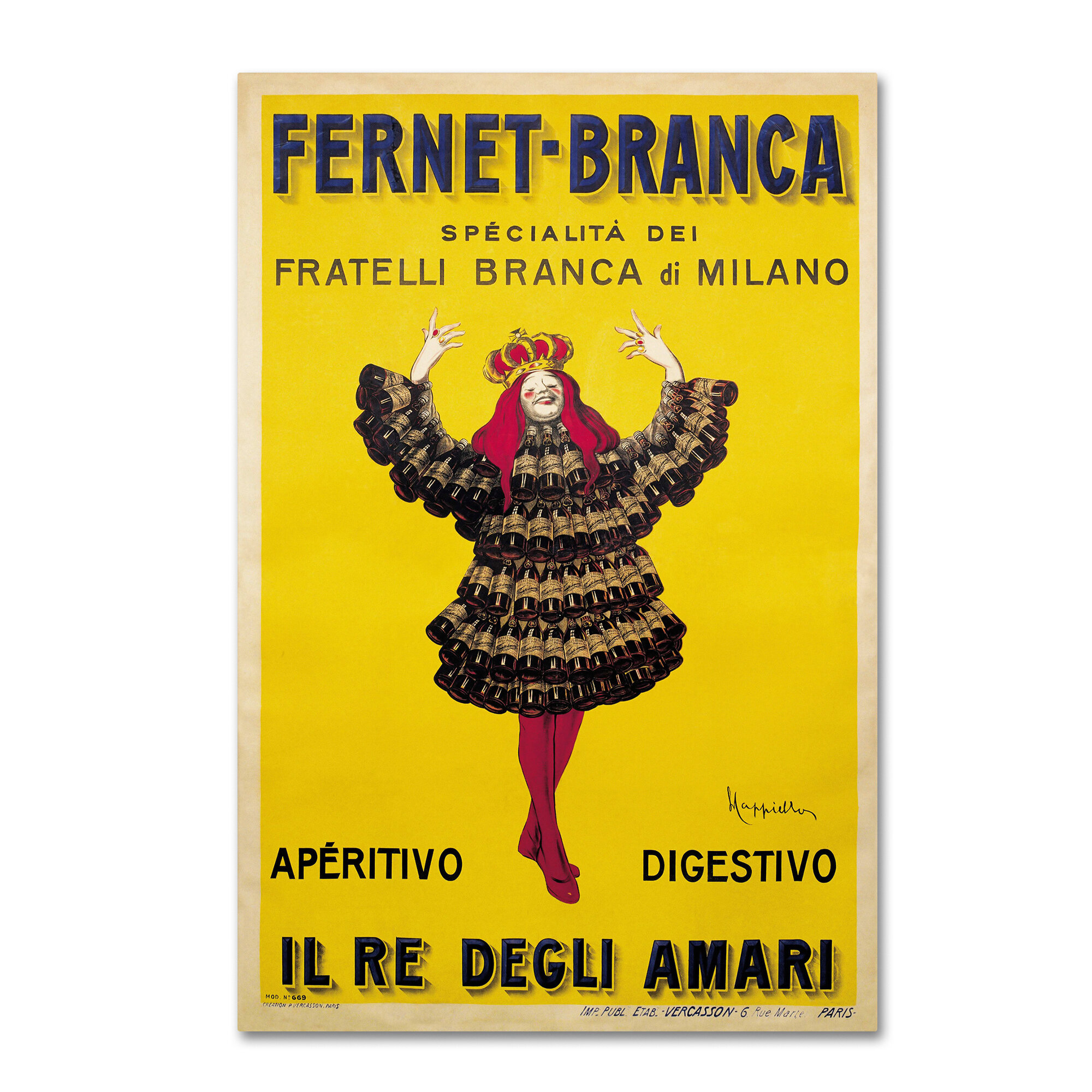 Trademark Art \'Fernet Branca Yellow\' Wall Art on Wrapped Canvas ...