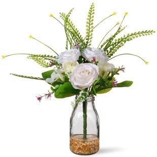 White roses in vase wayfair white roses in glass vase mightylinksfo