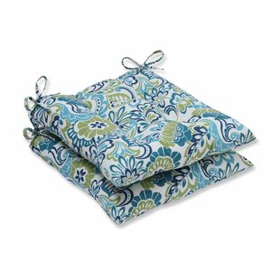 Genial Indoor/Outdoor Floral Blue Dining Chair Cushion (Set Of 2)