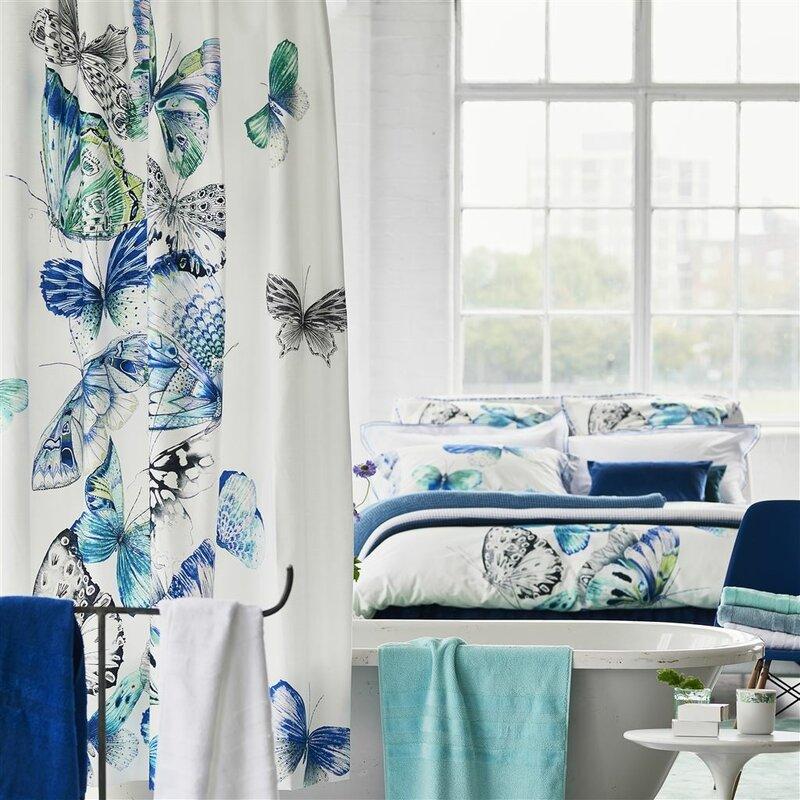 Papillons Cotton Shower Curtain