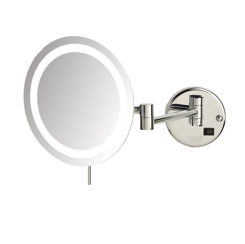 LED 8x Magnifying Wall Mount Makeup Mirror