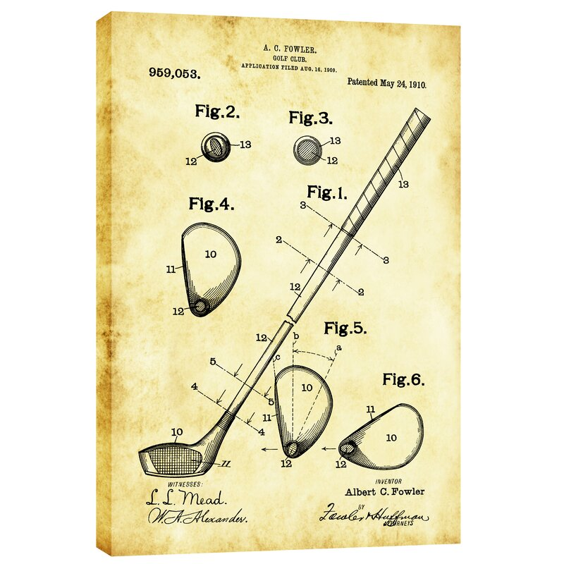 Cortesi home golf club vintage patent blueprint graphic art on golf club vintage patent blueprint graphic art on canvas malvernweather Image collections