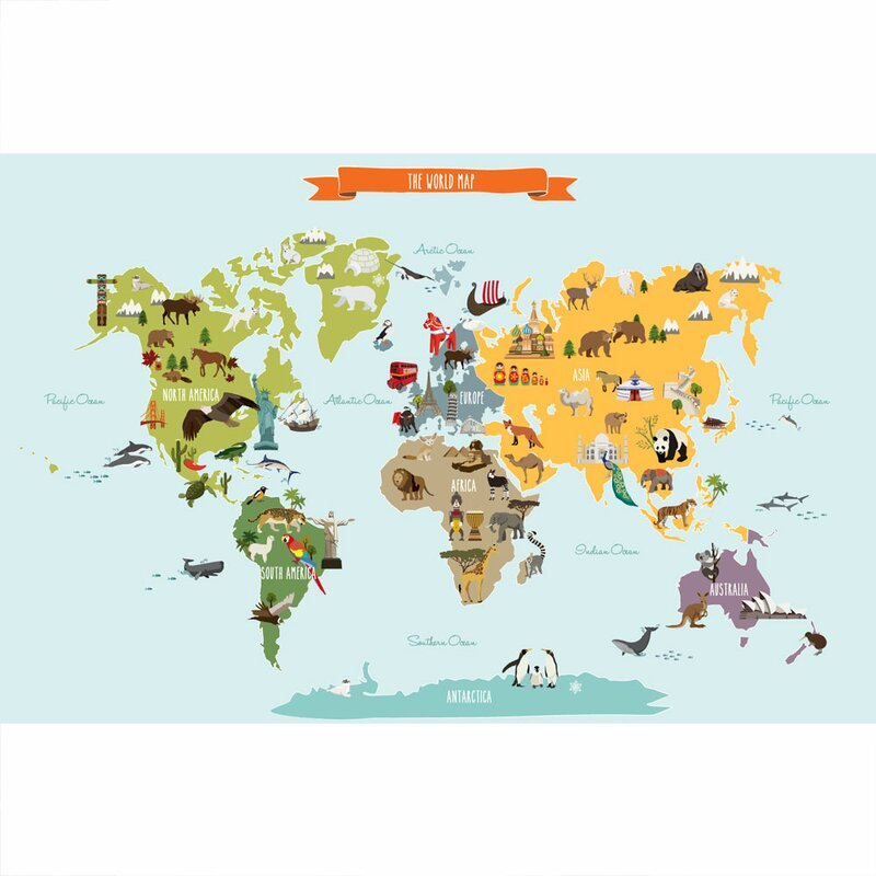 World Map Wall Decal Kids.Simpleshapes Children S World Map Poster Wall Decal Wayfair Ca