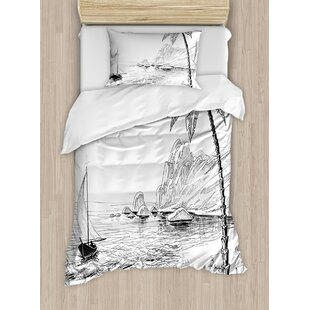 Decorations Sea Coast Beach With Palm Tree Boat And Hills Exotic Holiday  Duvet Set