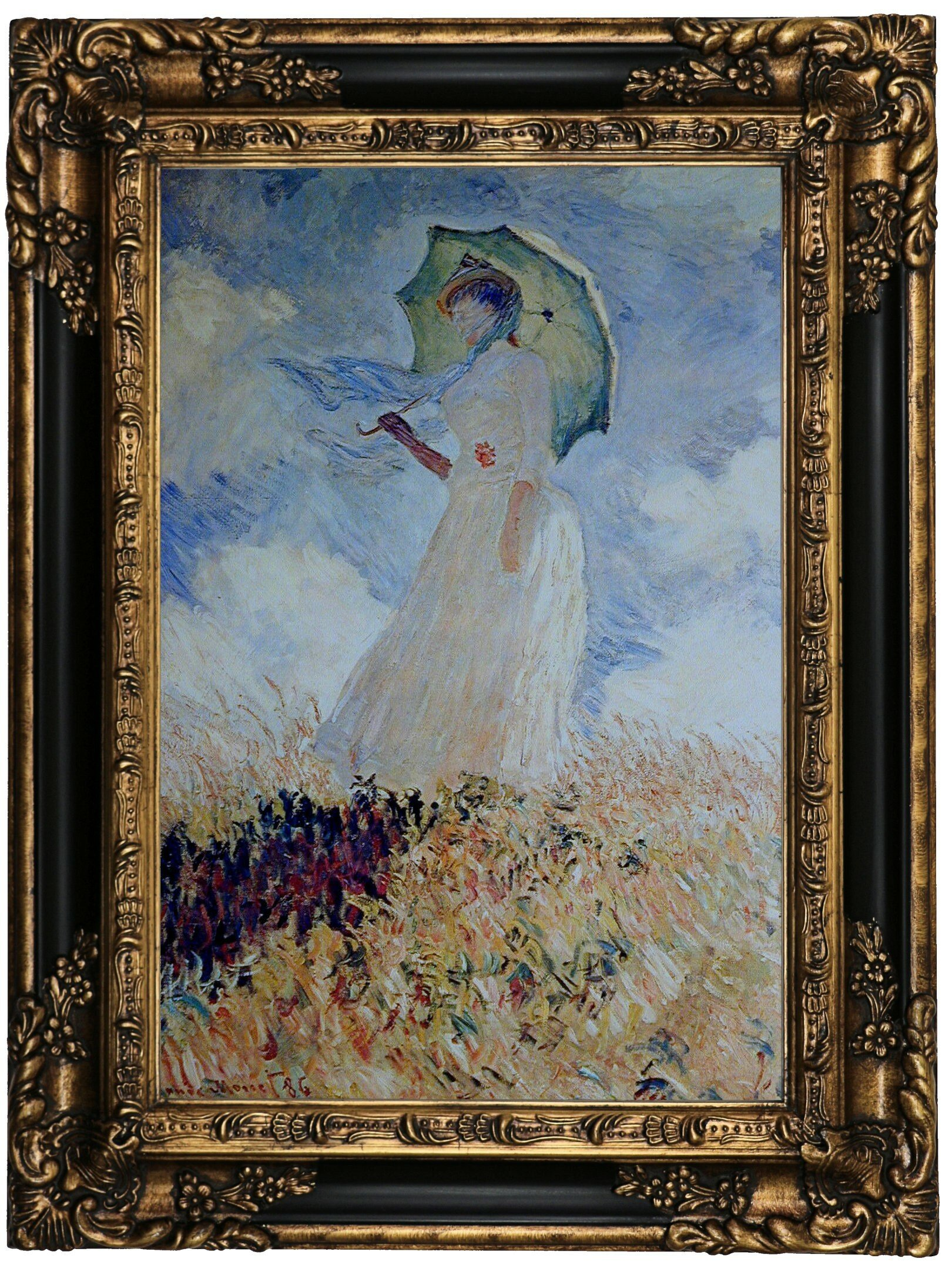 Lady With Umbrella By Claude Monet Framed Oil Painting Print On Canvas