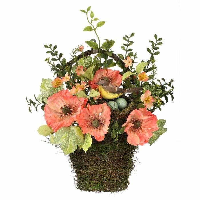 Regency International Poppy And Bird Fl Arrangement In Nest Wall Hanging Basket Wayfair
