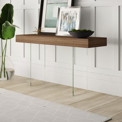 Mercury Row Mcduffy Console Table with Tempered Glass Table Top Color: Brown