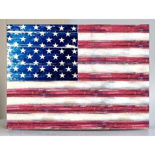 American Flag Rustic Wood Board Painting Print