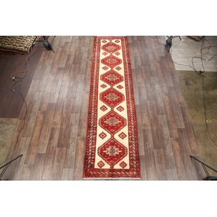 One Of A Kind Austell Ardebil Persian Hand Knotted Runner 3 8 X 14 Wool Red Ivory Area Rug