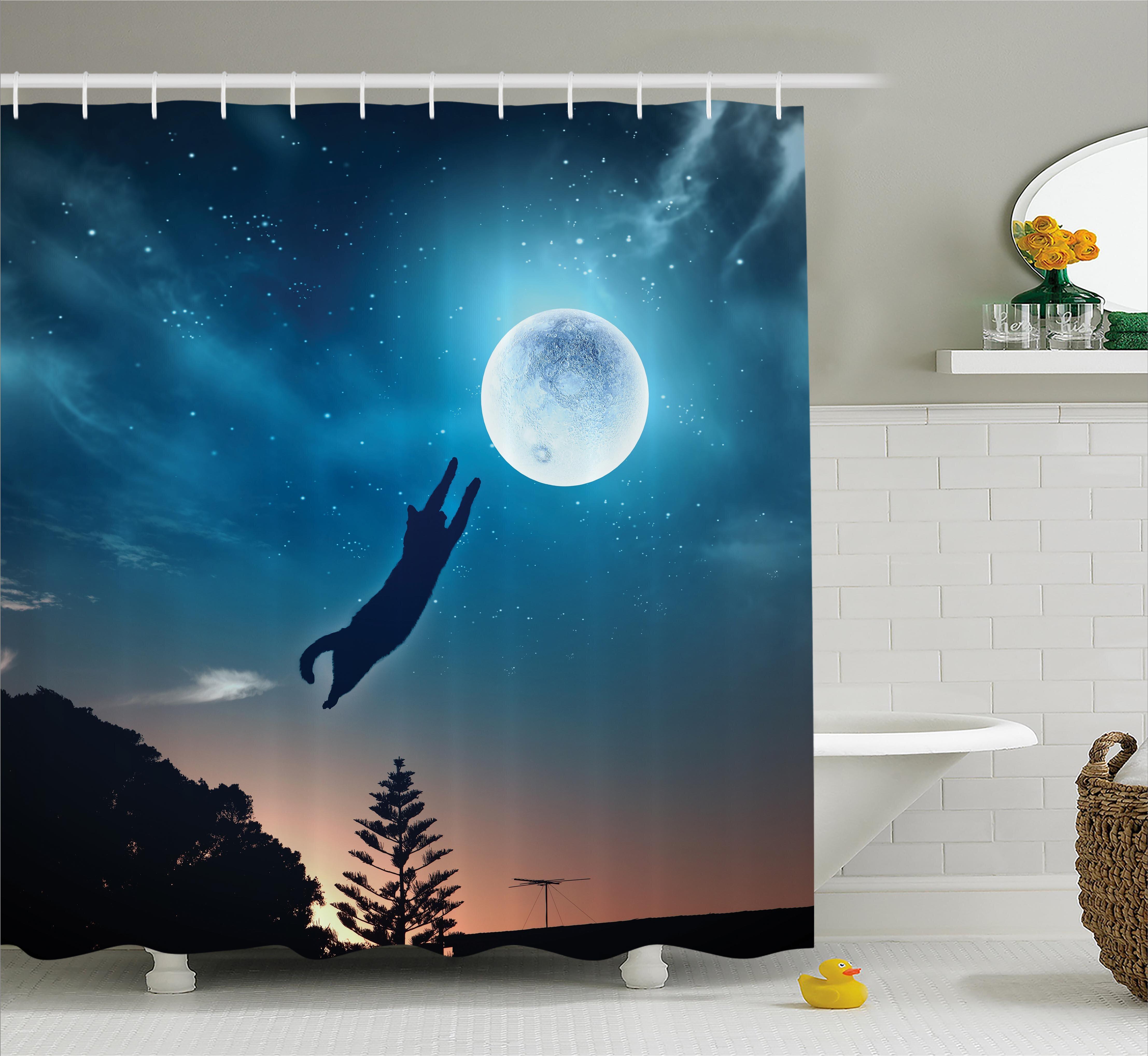 Ebern Designs Everly Cat Catching Moon Stars Shower Curtain