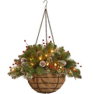 pre lit spruce hanging basket - Christmas Hanging Baskets