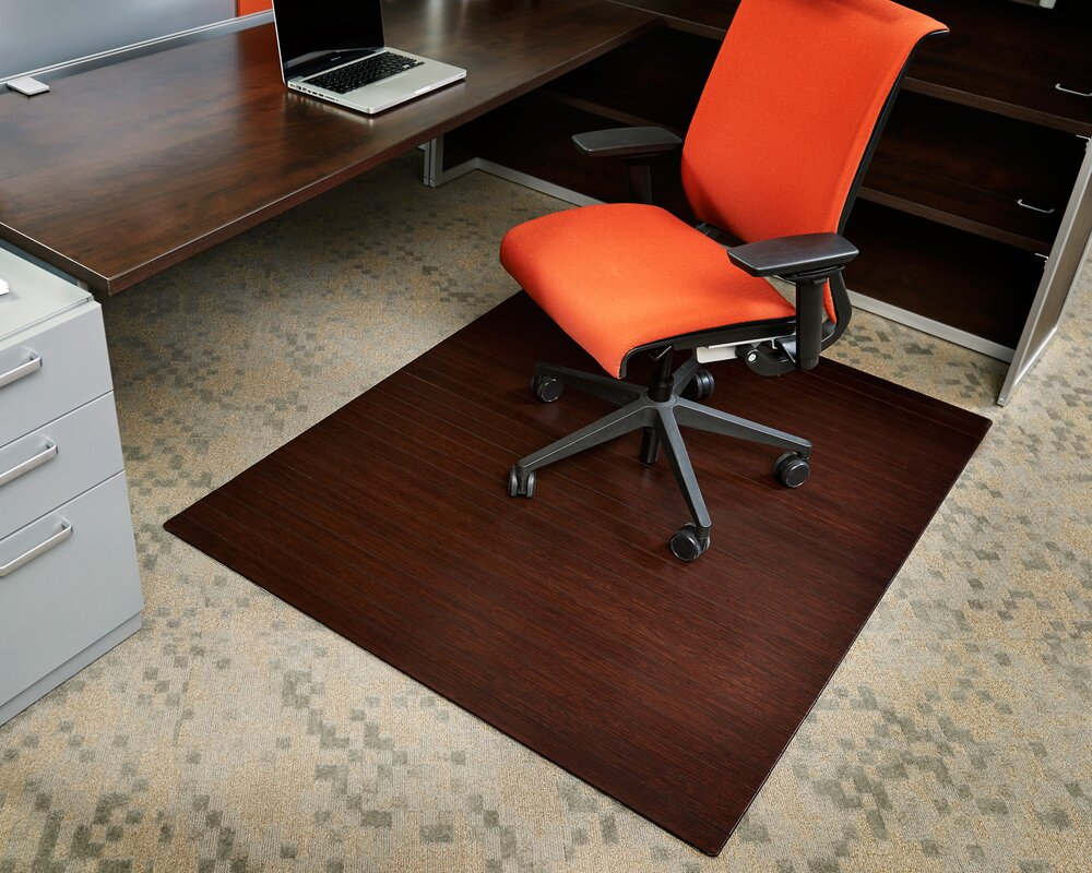 Symple Stuff Bamboo Rectangular Office Chair Mat Reviews Wayfair - Office chair mat