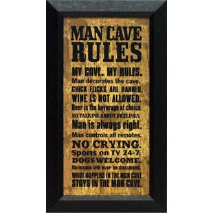 Man Cave Rules Framed Textual Art