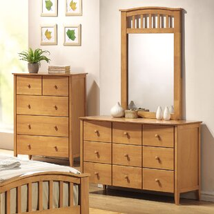 Scheffel 9 Drawer Double Dresser With Mirror