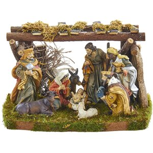 9 Piece Nativity Figures and Stable Set