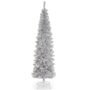 7u0027 Tinsel Silver Artificial Christmas Tree With Stand