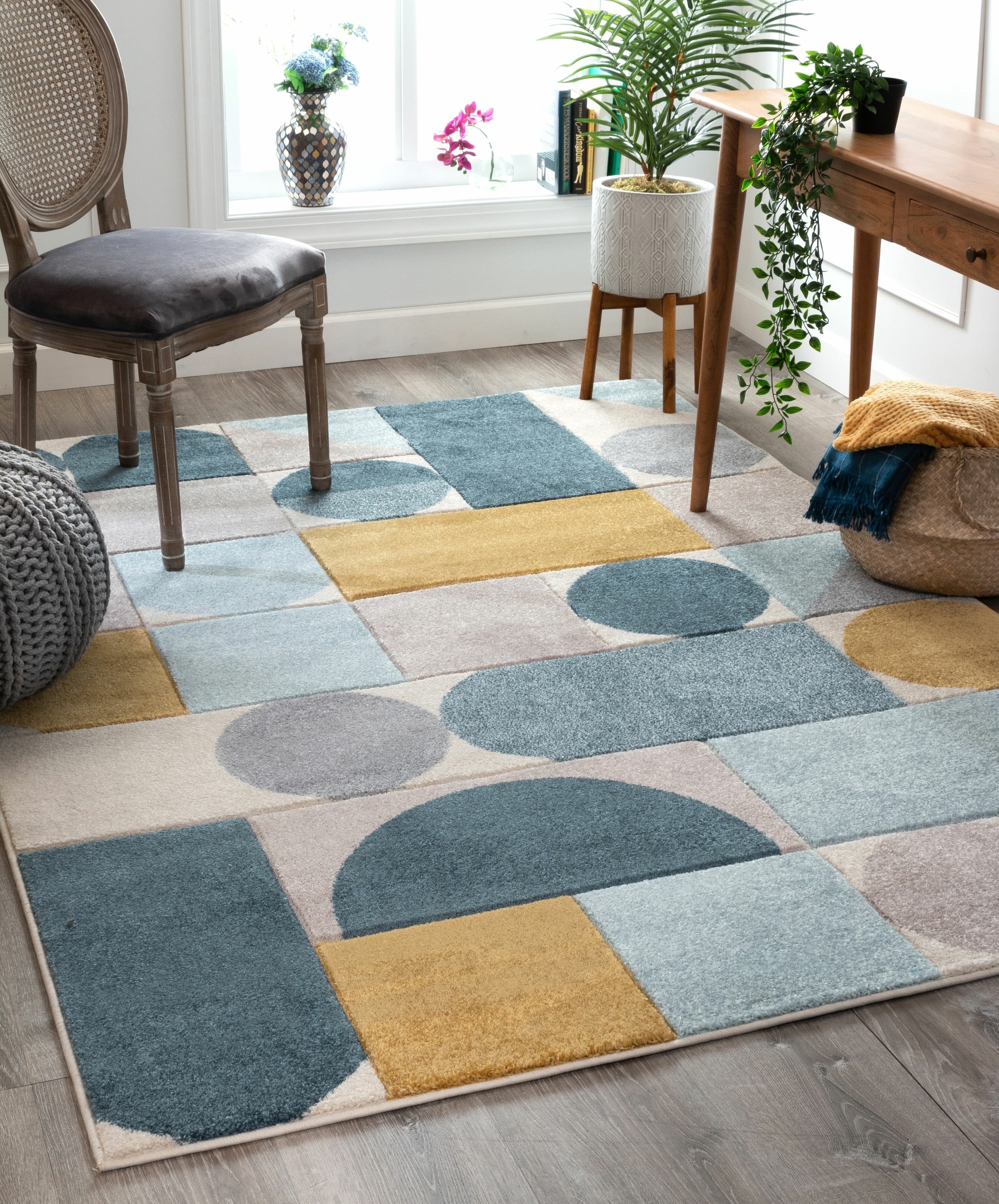 Shop Audrey Gray Mid Century Modern Area Rug: Well Woven Ruby Dede Mid-Century Modern Geometric Teal